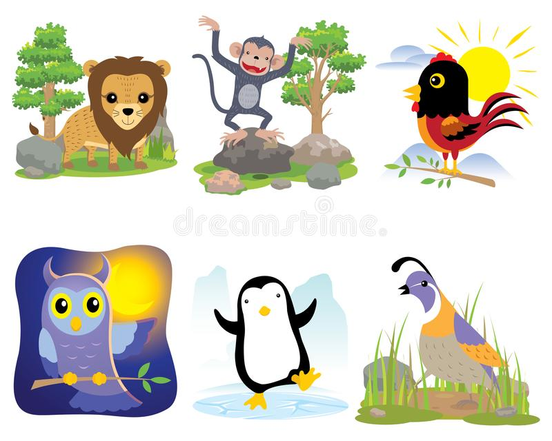 Vector dierlijke reeks, leeuw, aap, kip, uil, pinguïn, kwartels, royalty-vrije illustratie