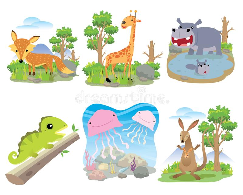 Vector dierlijke reeks, Vos, giraf, hippo, kameleon, kwallen, kangoeroe, vector illustratie