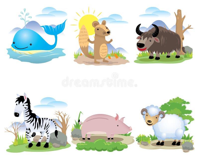 Vector dierlijke reeks, Walvis, gemalen eekhoorn, wilde buffels, zebra, varken, schapen, stock illustratie