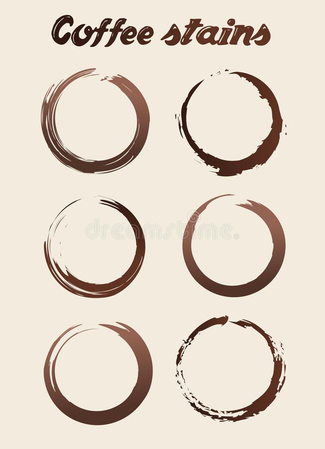 Vector Different Coffee Stains Abstract Set Illustration royalty free illustration