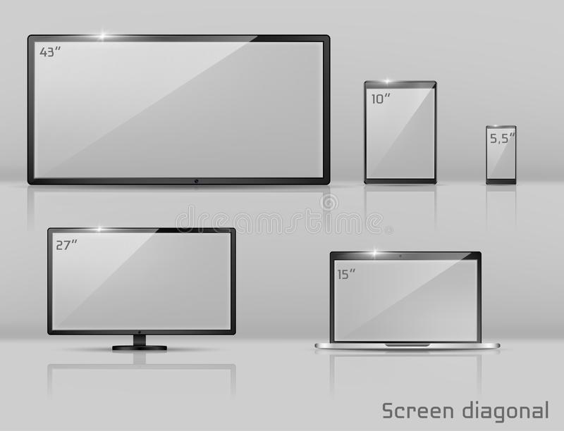 Vector different sizes of screens - notebook, smartphone, TV. royalty free illustration