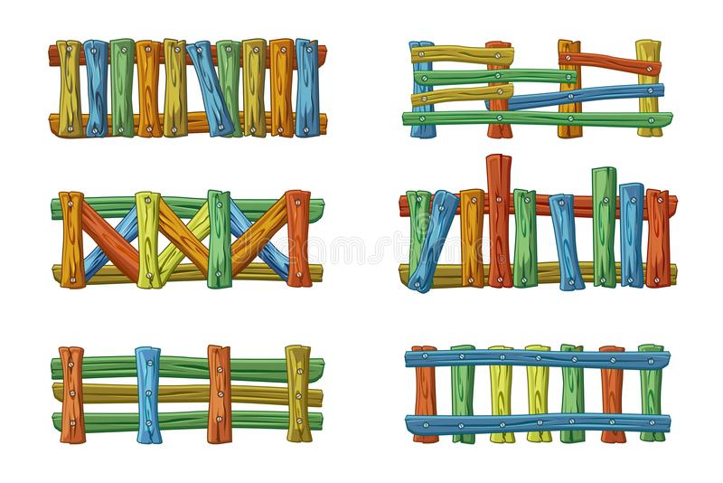 Different types and colors of wooden fence, cartoon set for asset. Vector different types and colors of wooden fence, cartoon set for asset vector illustration