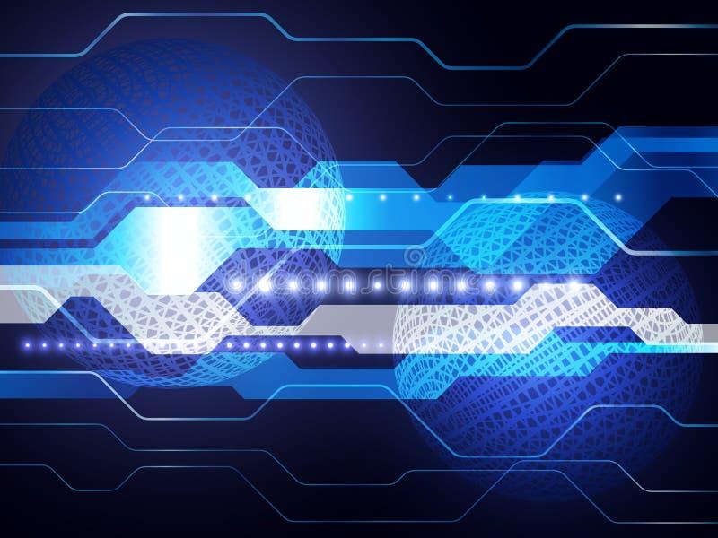Vector digitaal globaal technologieconcept, abstracte achtergrond royalty-vrije illustratie
