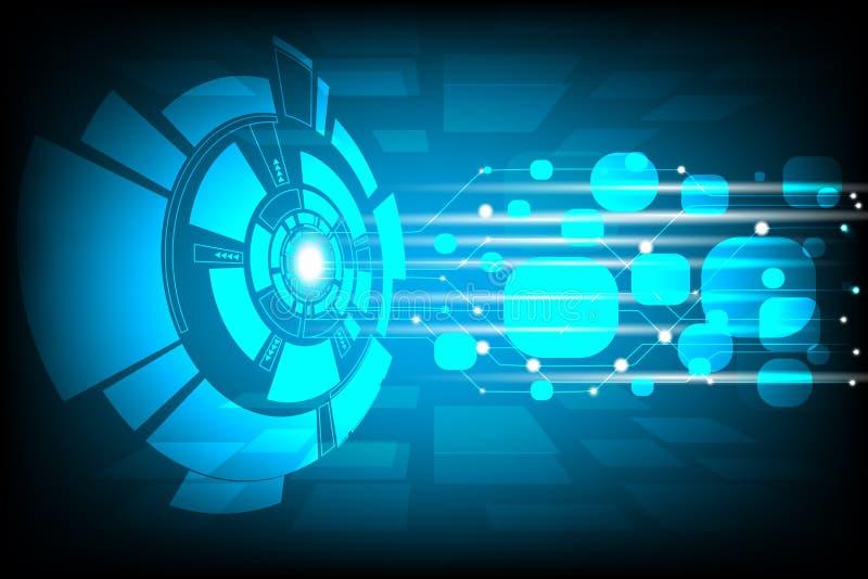 Vector digitaal technologieconcept, Blauwe abstracte technologische achtergrond met diverse technologische elementen, stock illustratie