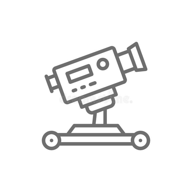 Digital cinema camera on wheels line icon. royalty free illustration