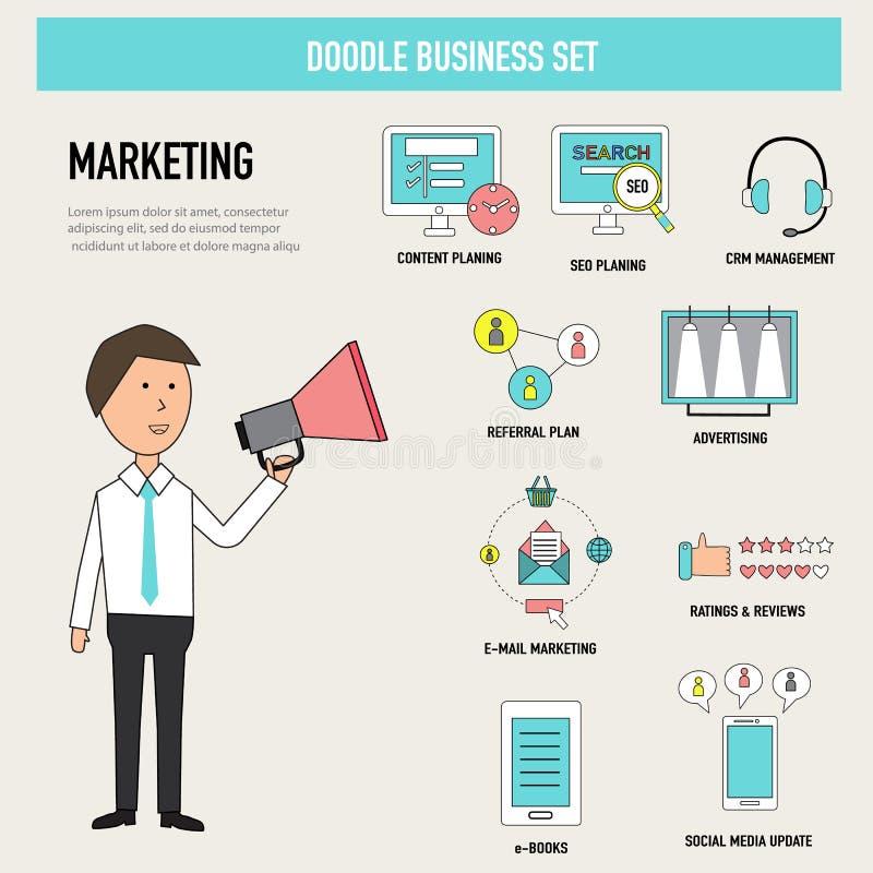 Vector digital del concepto del departamento del márketing del negocio del garabato illu stock de ilustración