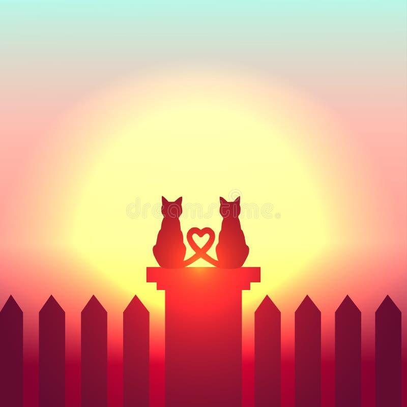 vector digital del ejemplo del gato de los pares de la silueta libre illustration