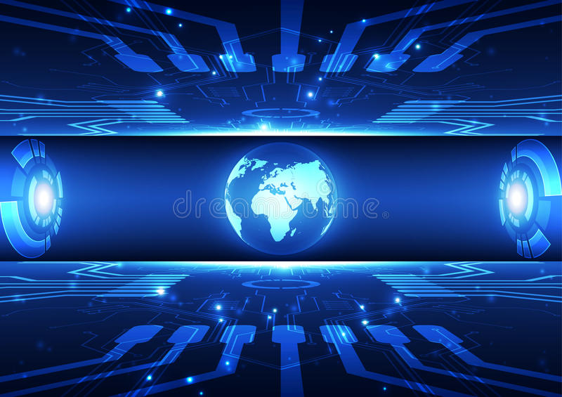 Vector digital global communication technology concept, abstract background stock illustration