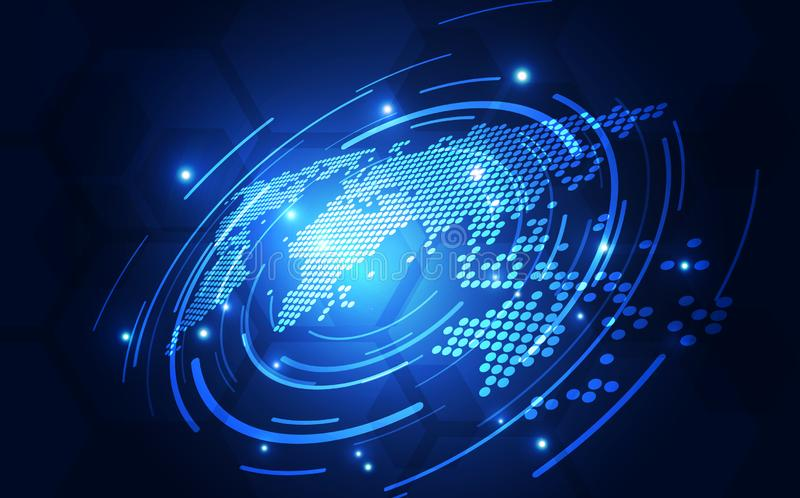 Vector digital global technology concept, abstract background illustration. Innovation graphic design stock illustration