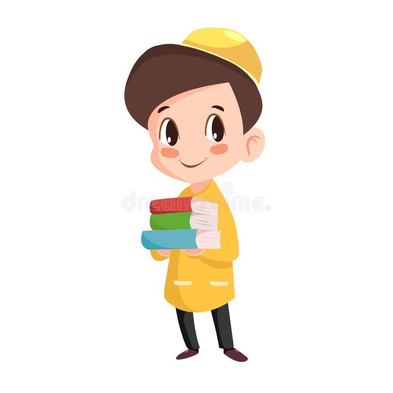 Vector - diligent muslim kid. Vector cartoon illustration of diligent muslim kid vector illustration