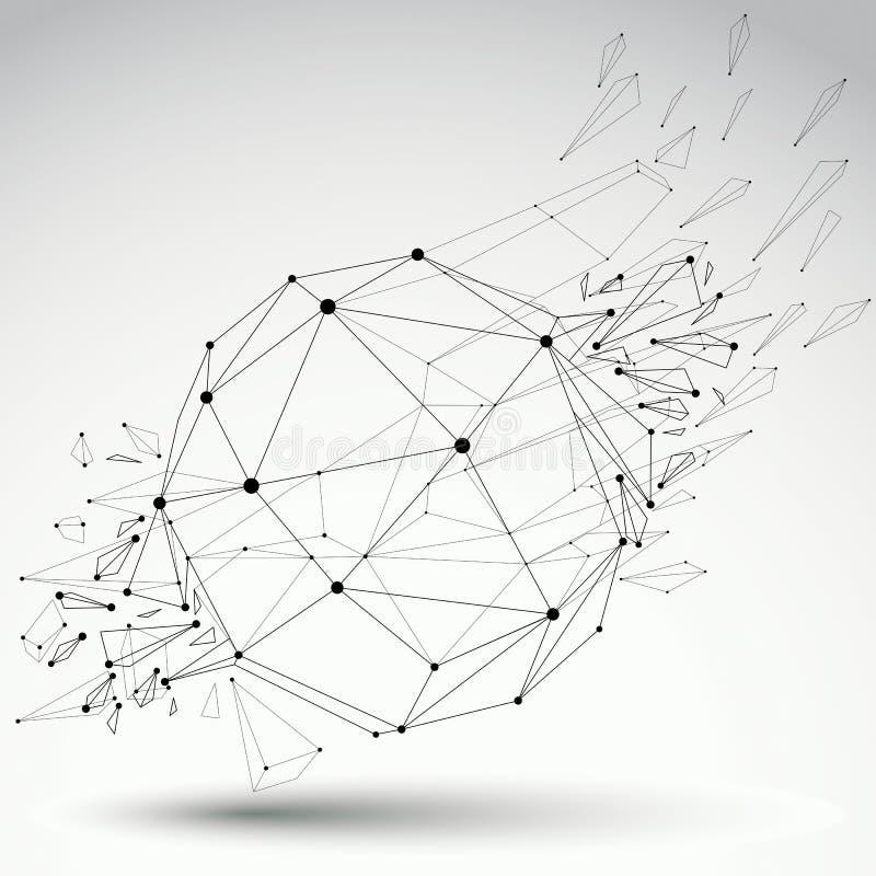 Vector dimensionaal wireframevoorwerp, sferische vernietigde vorm vector illustratie