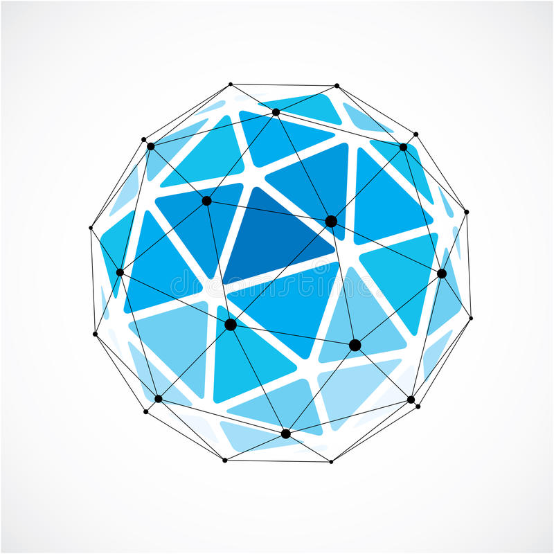 Vector dimensional wireframe low poly object, blue spherical shape with black grid. Technology 3d mesh element made using. Triangular facets for use as design stock illustration