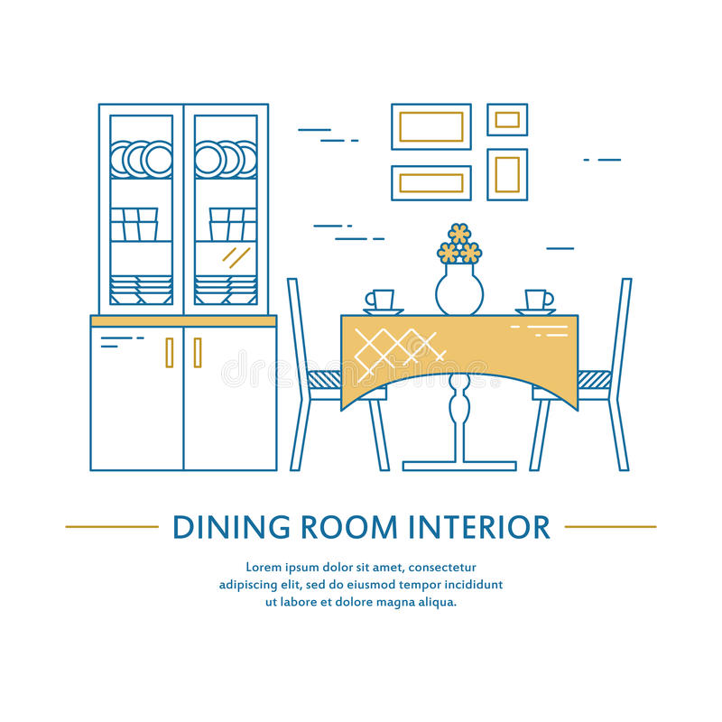 Download Vector Dining Room Interior Design Brochure Cover In Line Style.  Flyer Home Decoration.