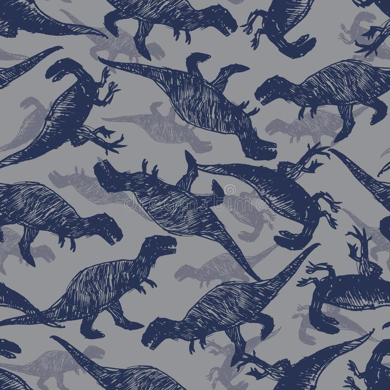 Vector dinosaur bigger meat eaters sketch repeat pattern. Perfect for textile, giftwrap and wallpaper. Surface pattern design royalty free illustration