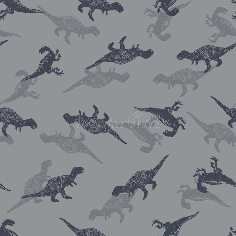Vector dinosaur meat eaters sketch repeat pattern. Perfect for textile, giftwrap and wallpaper. Surface pattern design vector illustration