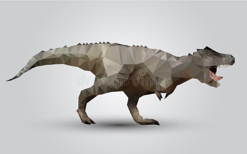 Vector dinosaur stylized triangle polygonal model stock illustration