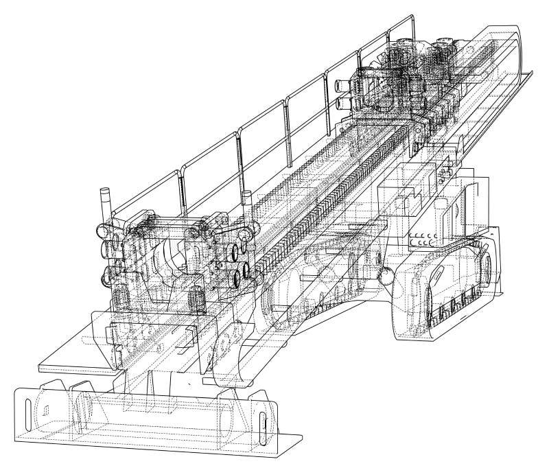 Vector direccional horizontal de la perforadora ilustración del vector