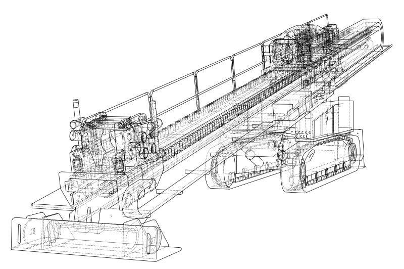 Vector direccional horizontal de la perforadora stock de ilustración
