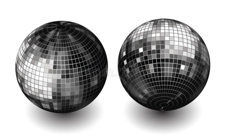 Vector disco globes. Disco globes on white background stock illustration