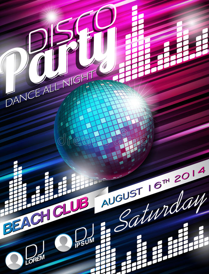 Vector Disco Party Flyer Design with disco ball on shiny background royalty free illustration