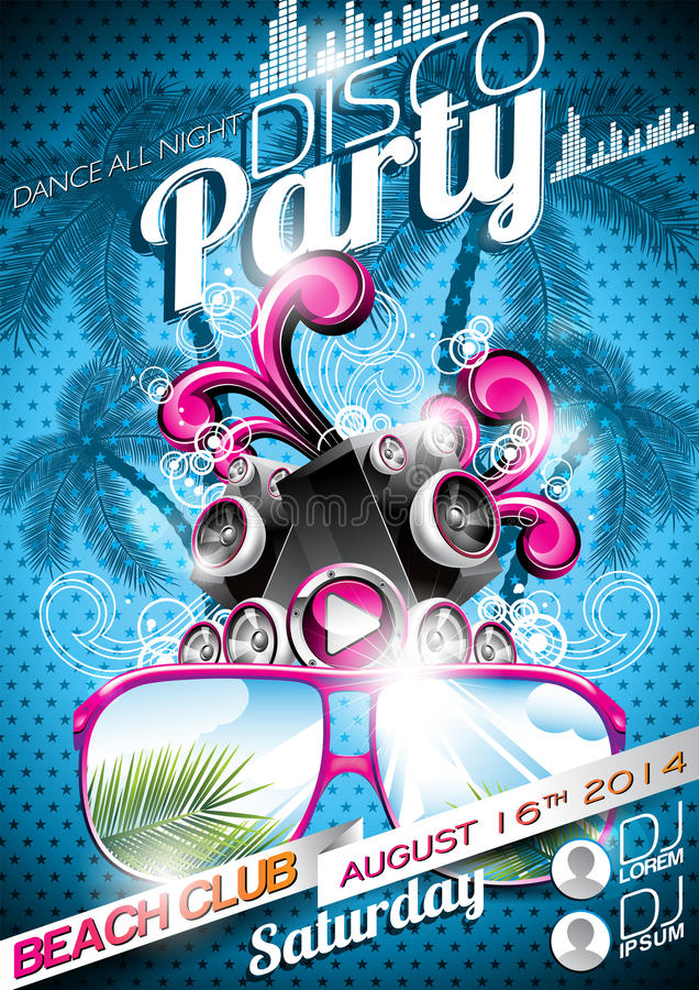 Vector Disco Party Flyer Design with speakers and sunglasses on blue background stock illustration