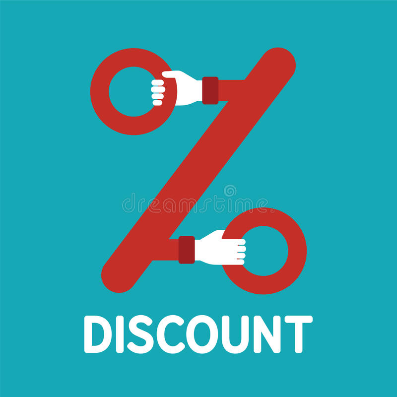 Vector discount sign in flat style. Vector discount sign symbol or icon in flat style vector illustration