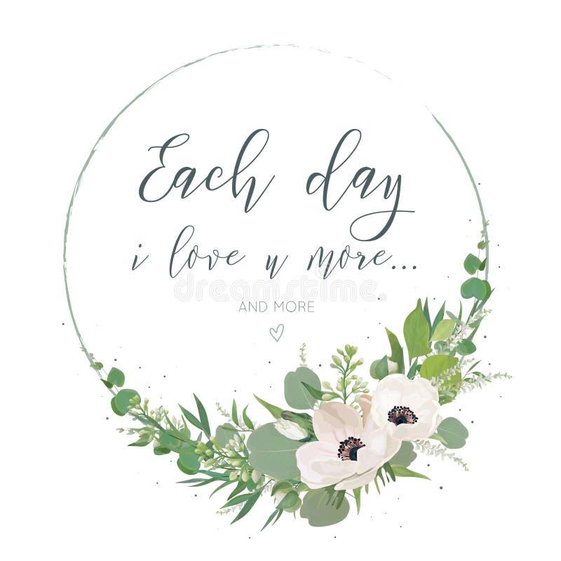 Vector, diseño de tarjeta floral con la guirnalda elegante del ramo con rosa ilustración del vector