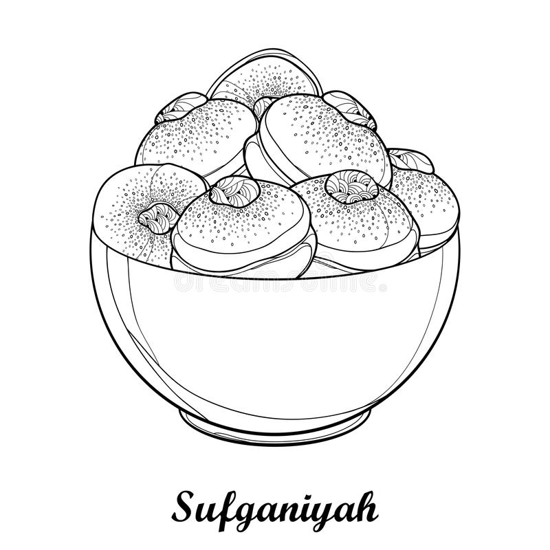 Vector dish with outline traditional Hanukkah sufganiyah or sufganiyot or doughnut in black isolated on white background. Contour ornate jelly donut for Jewish royalty free illustration