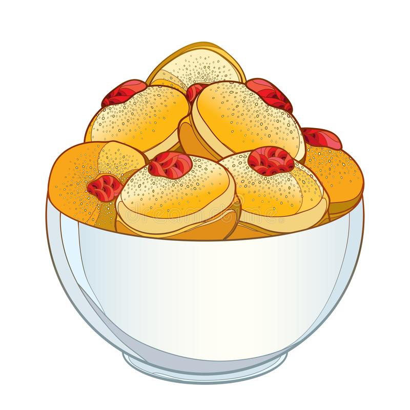 Vector dish with outline traditional Hanukkah sufganiyah or sufganiyot or doughnut isolated on white background. Traditional symbol of Jewish holiday design stock illustration
