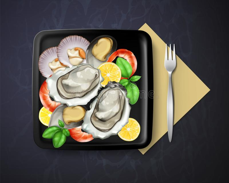 Vector of dish with oysters, mussels and prawns served lemon and basil in square black plate with fork, top view. Vector illustration of dish with oysters vector illustration