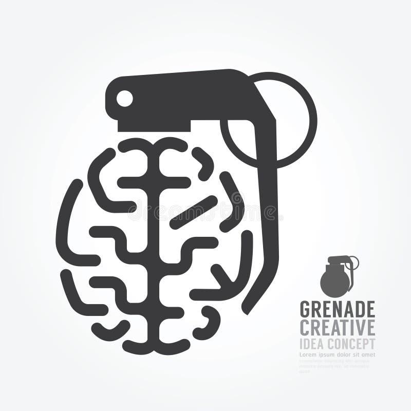 Vector a distorção do cérebro do motor do conceito da granada da ideia ilustração royalty free