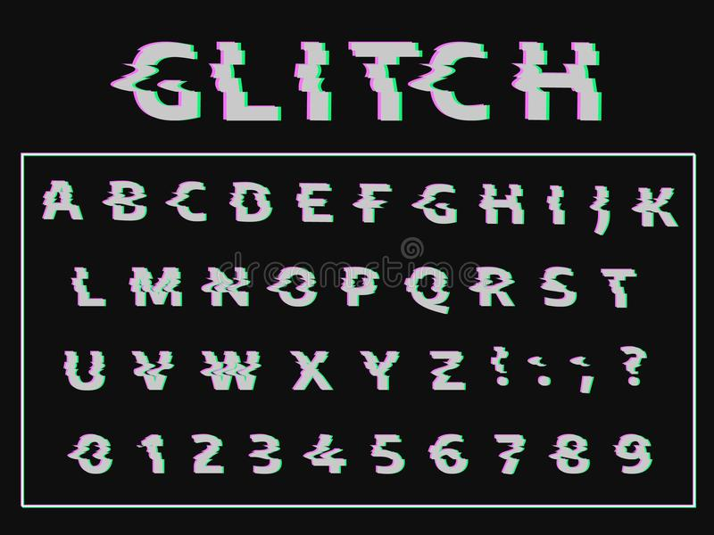 Vector distorted glitch font. Trendy style lettering typeface. vector illustration