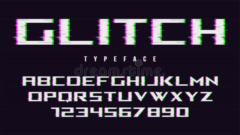 Vector distorted glitch style font design, alphabet, typeface, t vector illustration