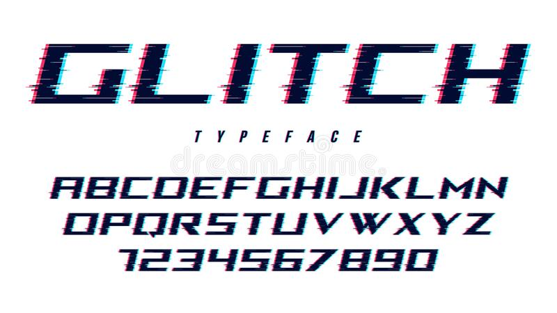 Vector distorted glitch style font design, alphabet, typeface, t royalty free illustration