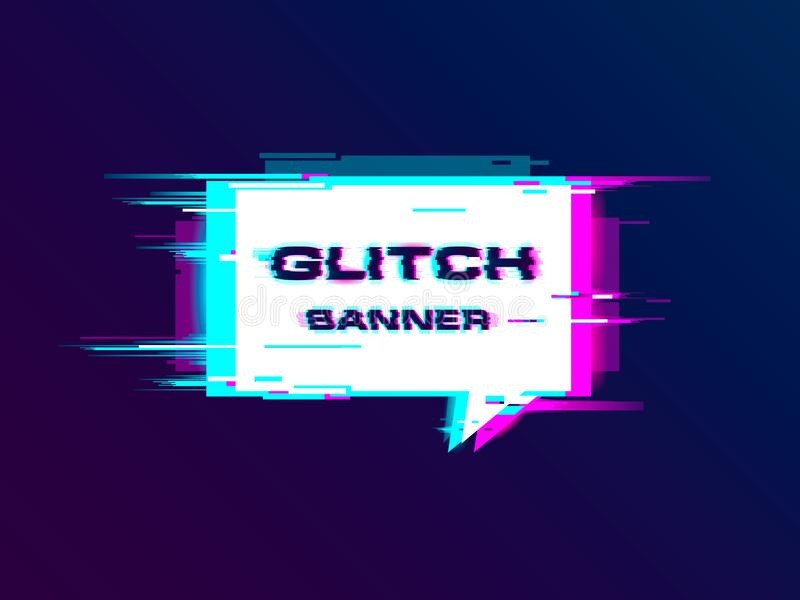 Vector distorted glitch style promotion banner, poster royalty free illustration