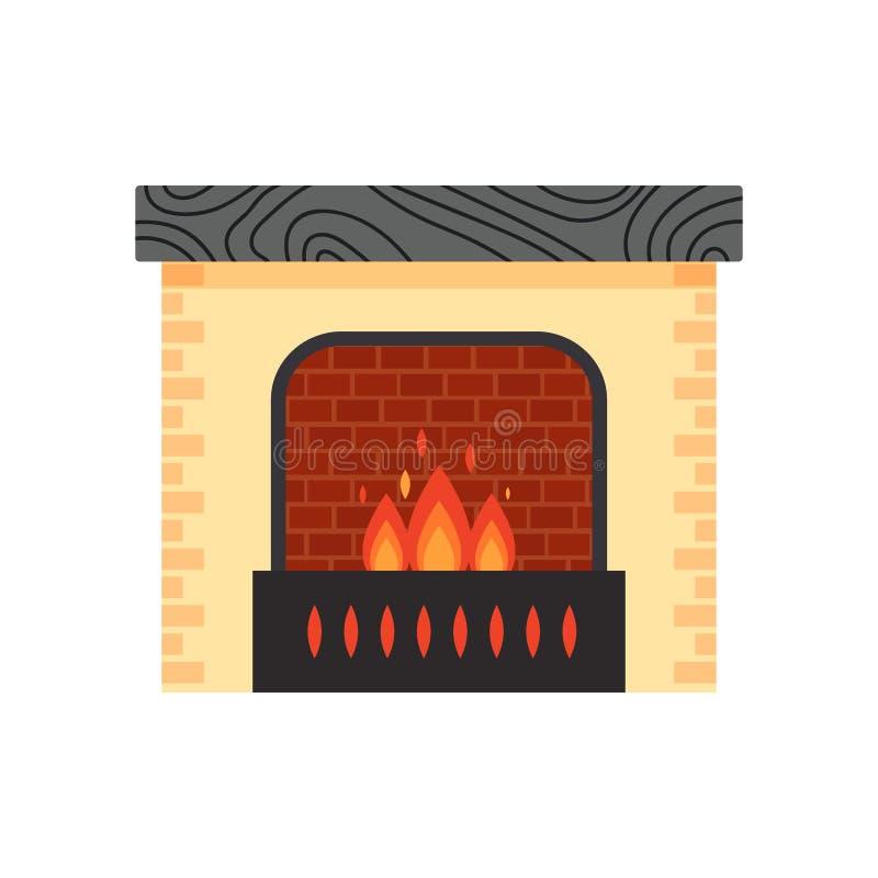 Vector diversa chimenea casera colorida con el fuego aislado en el fondo blanco Elementos del diseño para el interior del sitio a stock de ilustración