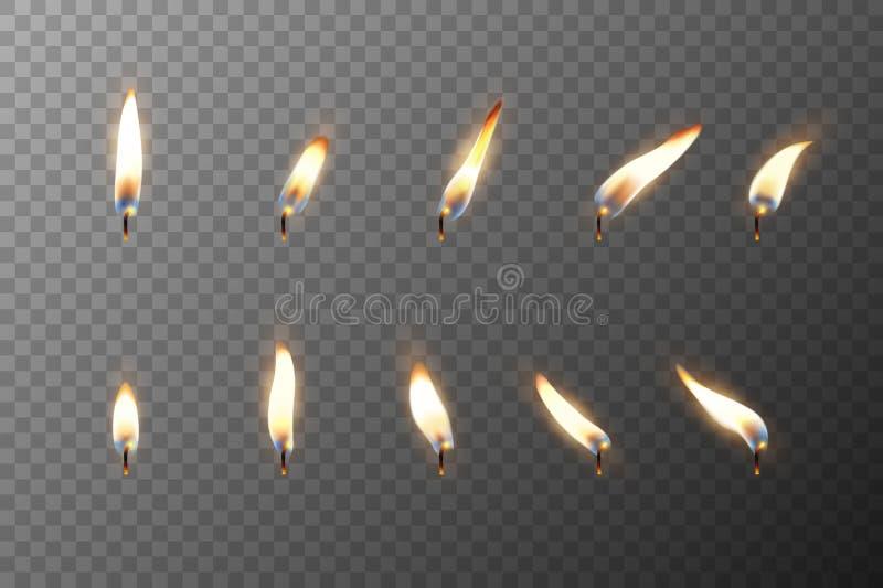 Vector diversa llama realista 3d de un primer determinado de la vela o del icono del partido aislado en fondo de la rejilla de la stock de ilustración