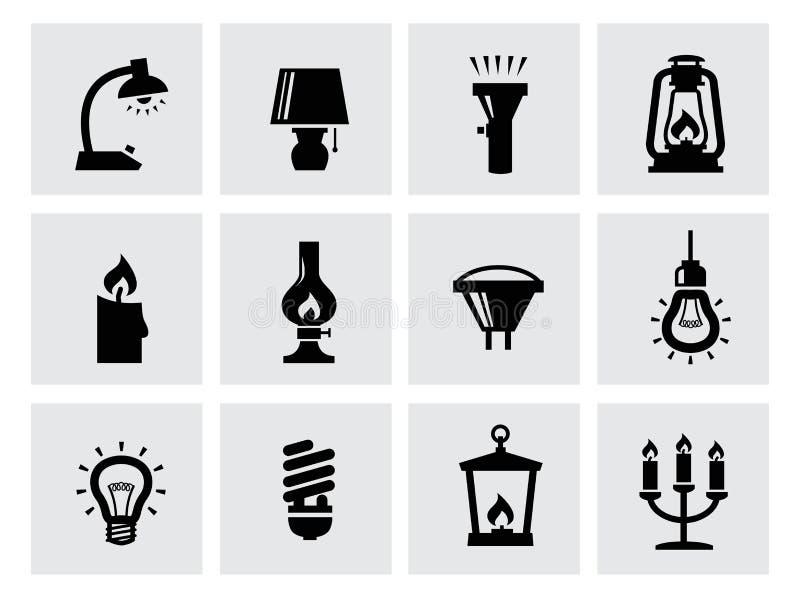Vector diverse verlichtingspictogrammen van lampen op wit vector illustratie