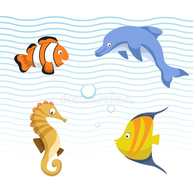 Vector diversos animales lindos del mar y del océano fijados Pescados rayados coloridos, seahorse, pescado del payaso, delfín ilustración del vector