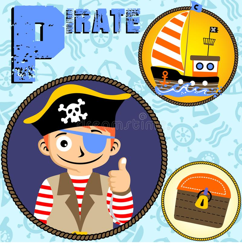 Vector divertido de la historieta del pirata stock de ilustración