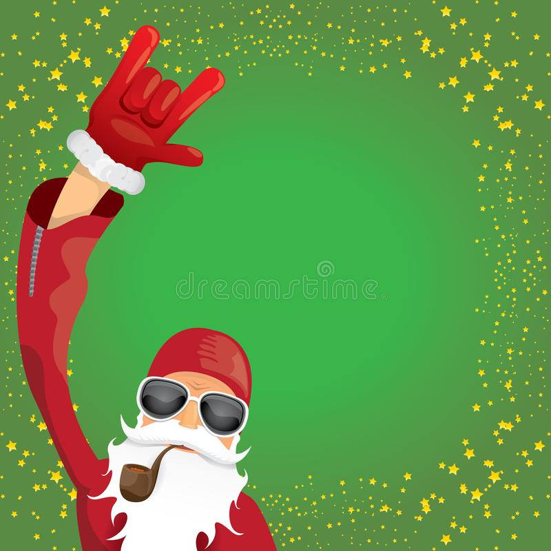 Vector DJ rock n roll santa claus with smoking pipe, santa beard and funky santa hat isolated on green christmas square. Vector DJ rock n roll santa claus with stock illustration