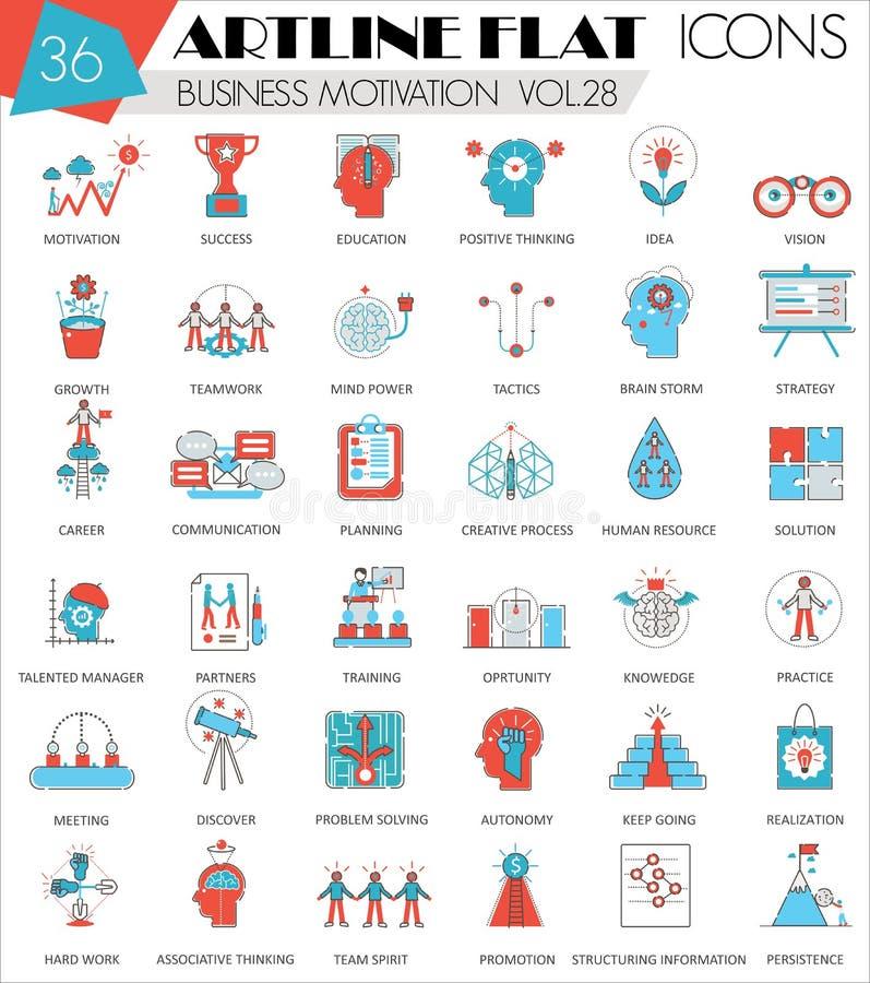 Vector do artline ultra moderno do esboço da motivação do negócio a linha lisa ícones para a Web e os apps ilustração do vetor