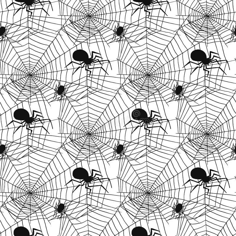 Vector do medo sem emenda assustador da decoração da teia de aranha do Dia das Bruxas do fundo do teste padrão das aranhas da sil ilustração royalty free