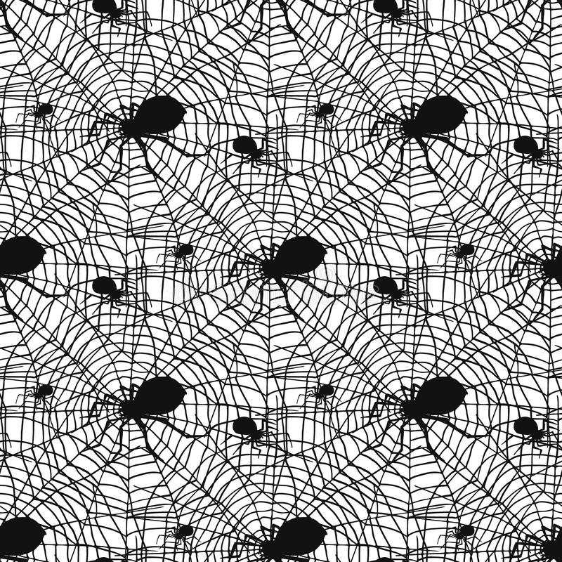Vector do medo sem emenda assustador da decoração da teia de aranha do Dia das Bruxas do fundo do teste padrão das aranhas da sil ilustração stock