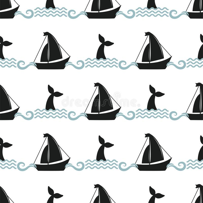 Vector do oceano sem emenda da corcunda do teste padrão da ilustração da baleia o caráter marinho do animal aquático dos animais  ilustração do vetor