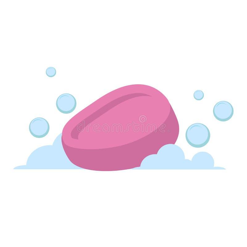 Vector do rosa liso do estilo dos desenhos animados o ícone oval do vetor do sabão Bolhas azuis Acessórios estilizados do banho ilustração royalty free