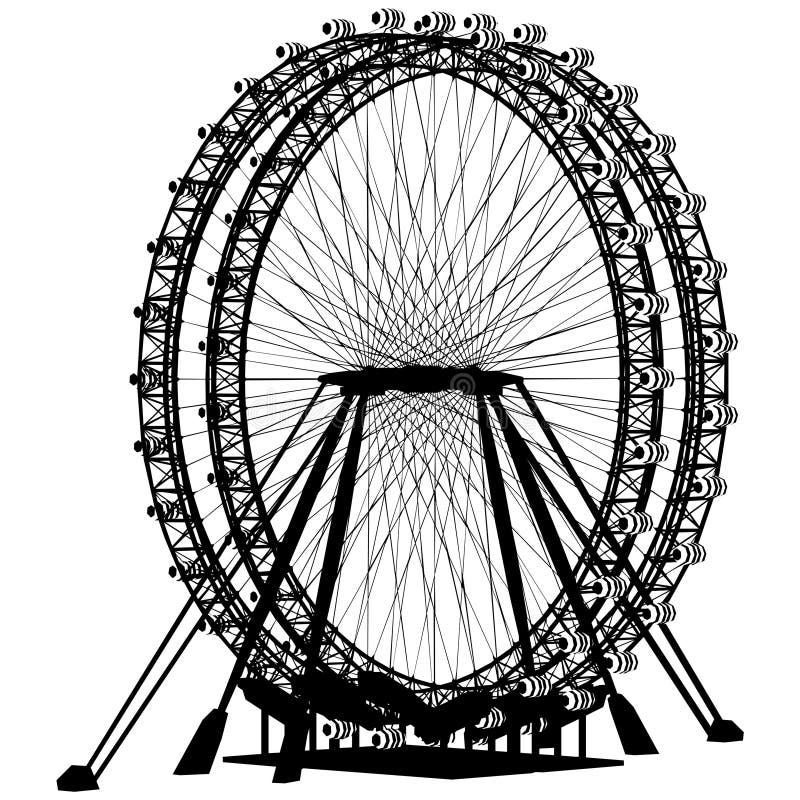 Vector doble de la silueta del carrusel ilustración del vector