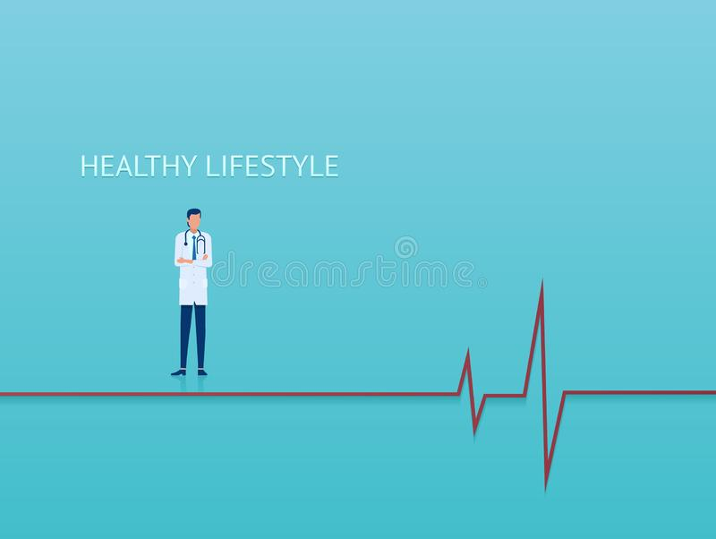 Vector of a doctor cardiologist advising on healthy lifestyle. On blue background stock illustration