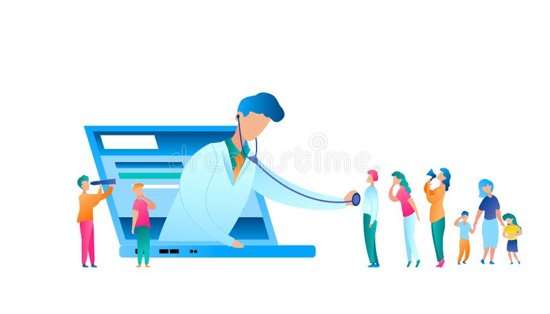 Vector Doctor Examining Patient Using Stethoscope. Flat Illustration Online Medical Consultation. Man in Uniform Medical Worker. Use Laptop for Communication vector illustration