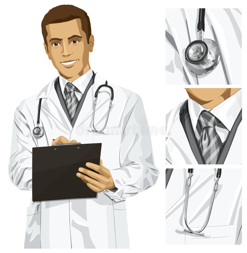 Vector Doctor Man With Clipboard. Vector doctor man writing something with marker on clipboard royalty free illustration